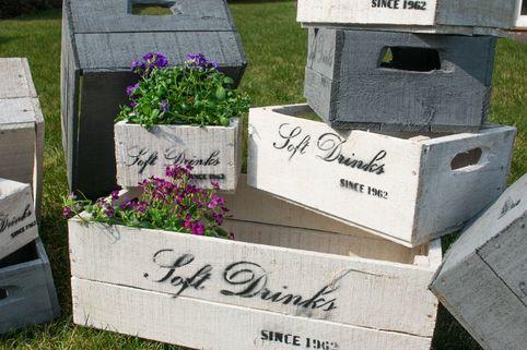 Holzkisten 6er-Set - Deko-Kisten in Grau, Weiß oder Natur